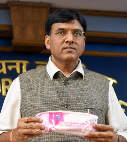 Union Minister of State for Road Transport & Highways, Shipping, Chemical & Fertilisers, Mansukh Laxmanbhai Mandaviya launches sanitary napkins, on eve of the World Environment Day, in New Delhi on Monday. PTI