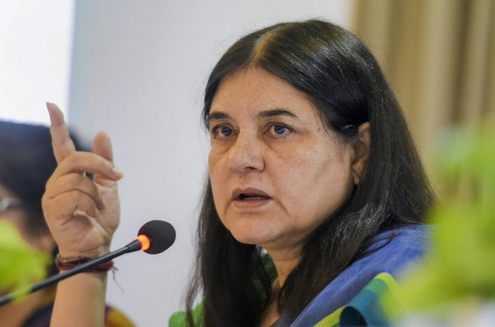 Union Minister for Women & Child Development Maneka Gandhi addresses a press conference regarding her ministry's achievements and initiatives, in New Delhi on Wednesday, June 06, 2018.