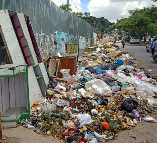 Garbage dumped along 100 Feet Ring Road in Banashankari, from the Kadirenahalli underpass to the JP Nagar metro station.
