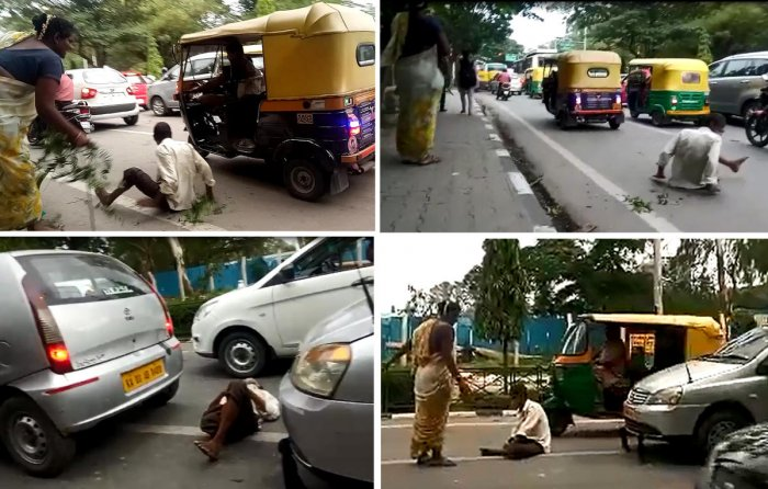 (Clockwise from top left) A transgender beats a beggar when a motorist gives him money; he tries to escape amid moving traffic on Cubbon Road; the transgender chases the beggar, who squats on the road, blocking traffic; the beggar collapses on the road after another beating from the transgender. DH Photos/Aishwarya Rakesh