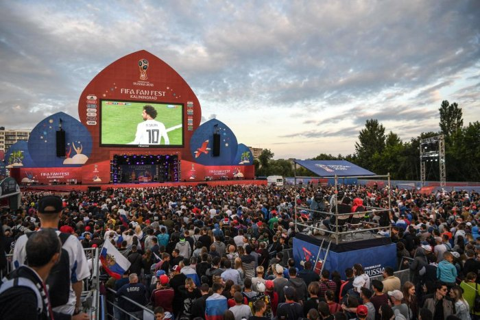 Russia's fine show in the World Cup so far has attracted huge number of people to the official fan zone in the country. AFP
