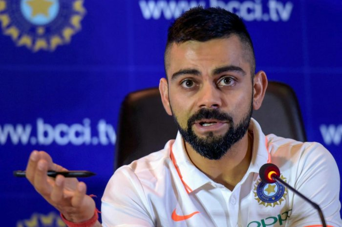Indian captain Virat Kohli at a press conference ahead of the team's departure for England and Ireland, in New Delhi on Friday. PTI