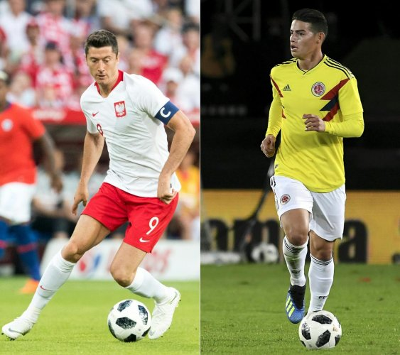 KEY MEN Poland's forward Robert Lewandowski (left) and Colombia's midfielder James Rodriguez will be under pressure to deliver during their Group H match on Sunday. AFP