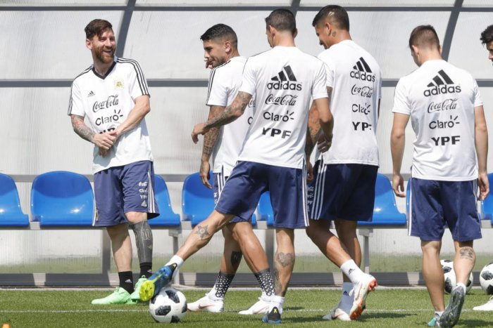 Aregntina's Lionel Messi (left) talks to team-mates during a training session in Bronnitsy, Russia on Saturday. AP/PTI