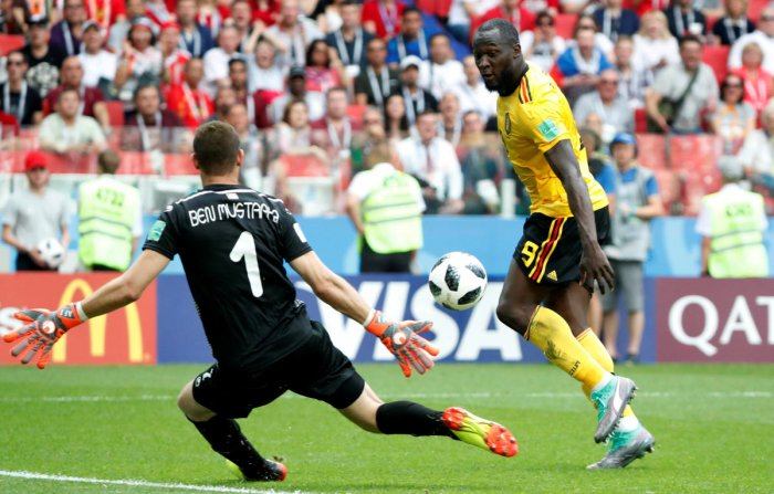 Belgium's Romelu Lukaku scores their third goal. June 23, 2018. Soccer Football - World Cup - Group G - Belgium vs Tunisia - Spartak Stadium, Moscow, Russia. Reuters
