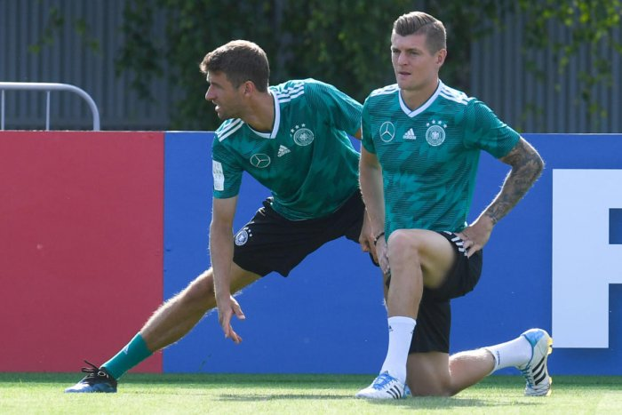 Germany's Toni Kroos (right) and Thomas Mueller at a training session ahead of their game against South Korea. AFP