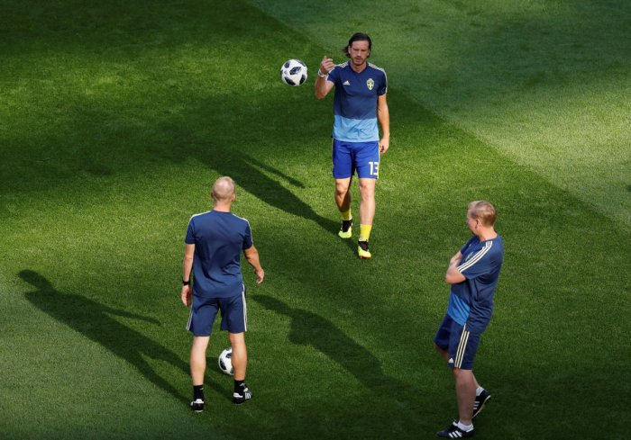 Sweden's Gustav Svensson during the warm up before the match, Reuters Photo