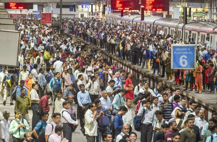 A view of the crowd of commuters at Chhatrapati Shivaji Maharaj Terminus on World Population Day (WPD), in Mumbai. PTI