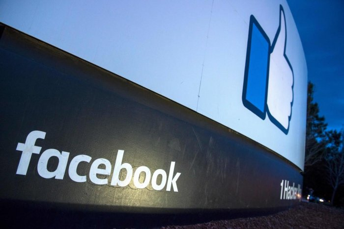 A Facebook logo at the company's corporate headquarters in Menlo Park, California. AFP