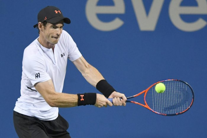 Britain's Andy Murray returns to Mackenzie McDonald during their first round match on Monday. AFP