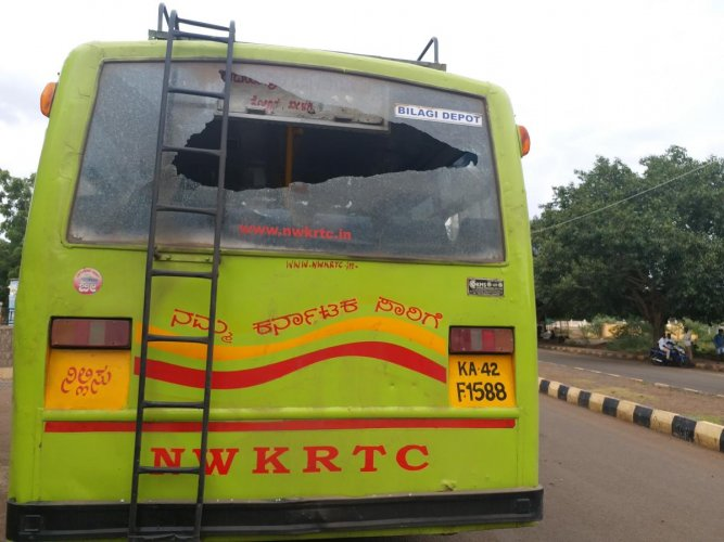 The KSRTC bus damaged in stone throwing by miscreants in Bagalkot on Saturday. DH Photo