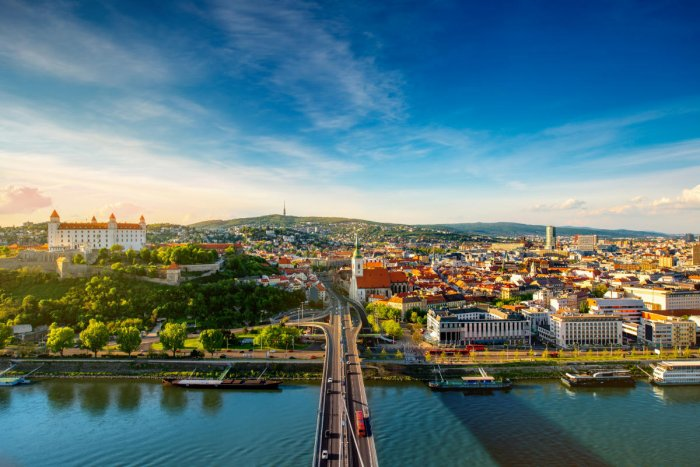 An aerial view of Bratislava