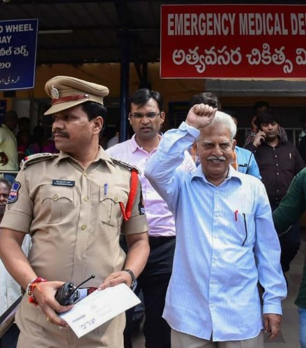 Revolutionary writer P Varavara Rao after a medical chek-up following his arrest by the Pune Police in Hyderabad on Tuesday. PTI