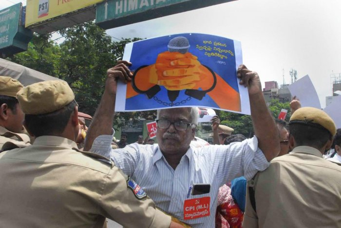 Police detain activists during a protest against the arrest of revolutionary writer Varavara Rao and other activists in connection with Bhima-Koregaon violence, in Hyderabad on Wednesday, Aug 29, 2018. (PTI Photo)