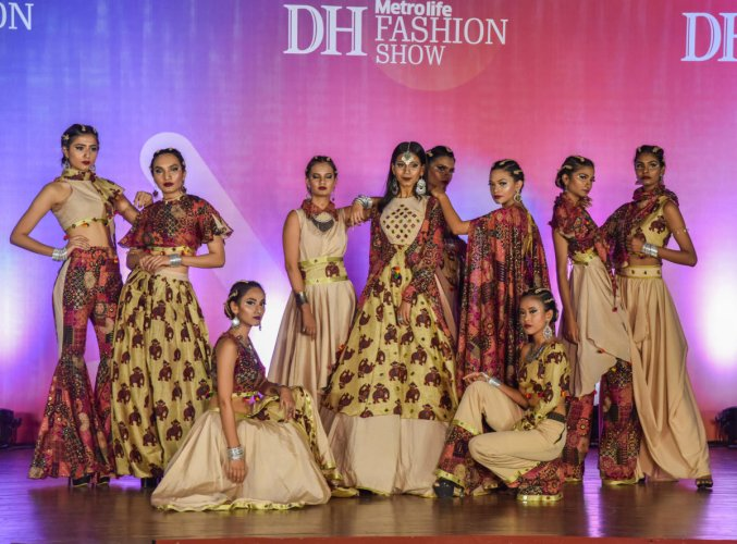 Vogue Institute of Fashion Technology students participated and won first place in Deccan Herald Metrolife inter college Fashion Show competition second round at CMR Law College in Bengaluru on Saturday. Photo by S K Dinesh