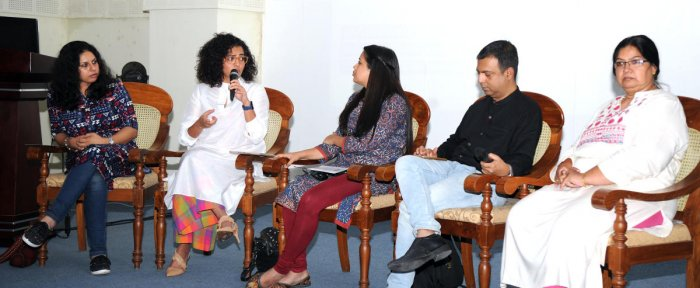 Malayalam actor Parvathy speaks at a panel discussion on 'Choke The Demand' in Bengaluru on Wednesday. Also seen are writer/director Jasmine Kaur Roy, journalist Dhanya Rajendran, Roop Sen, partner, Changemantras and the founder-president of Talaash Association Seema Sharma Diwan.