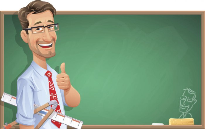 A smiling teacher with glasses in front of a blackboard holding a ruler and a compass and gesturing thumbs up. Illustration with space for text. EPS 10, grouped and labeled in layers.Image for Education Suppliment