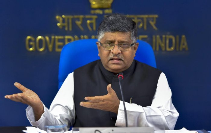 Union Law and Justice Minister Ravi Shankar Prasad briefs the press after the Cabinet meeting, in New Delhi. (PTI photo)