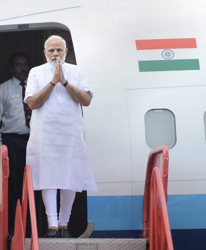 Prime Minister Narendra Modi on his arrival at the Bhubaneswar airport, Saturday, Sep 22, 2018. PM Modi is in Odisha to inaugurate various developmental projects. PTI Photo