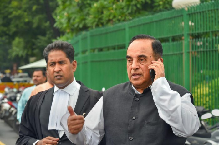 BJP leader Subramanian Swamy after a hearing in relation to his petition regarding Ram Setu, at the Supreme Court premises, in New Delhi on Tuesday. (PTI Photo)
