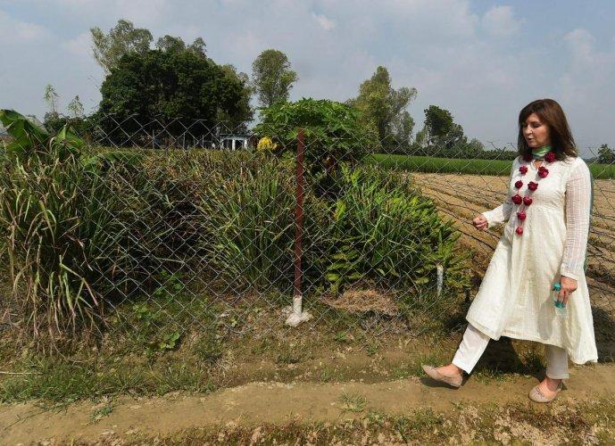 Walmart International CEO Judith McKenna visits agricultural farms at Kasimpur village near Lucknow on Thursday.