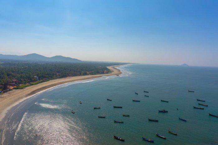 An aerial view of the coastline in Murudeshwar