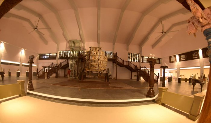 A view of the chariot belonging to 18th century at Manjusha museum in Dharmasthala.