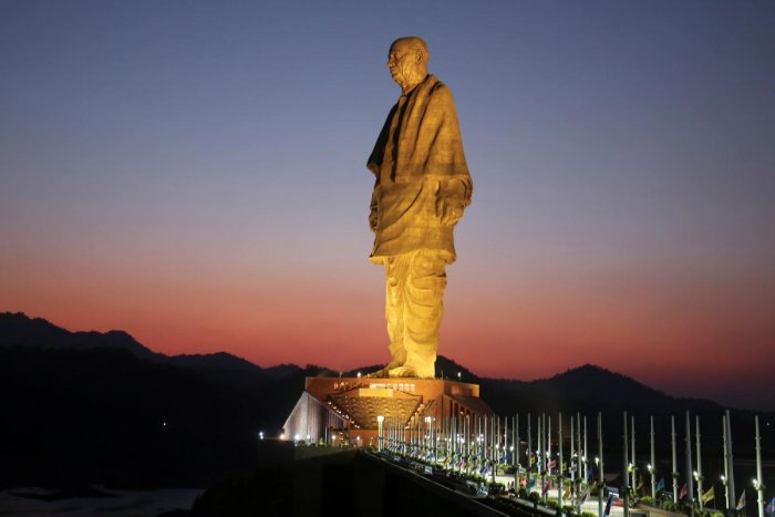 """General view of the """"Statue of Unity"""" portraying Sardar Vallabhbhai Patel, one of the founding fathers of India, during its inauguration in Kevadia, in the western state of Gujarat, India, October 31, 2018. REUTERS/Amit Dave"""