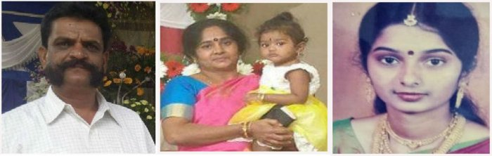 Sudharani (right) offered sleeping pills to her parents Janardhan and Sumithra, and smothered her six-year-old daughter Sonica, in Doddabommasandra in Vidyaranyapura.
