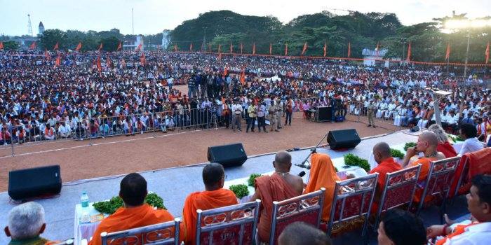 A large number of people take part in Janagraha convention on Ram Temple in Ayodhya, in Mangaluru on Sunday. DH PHOTO