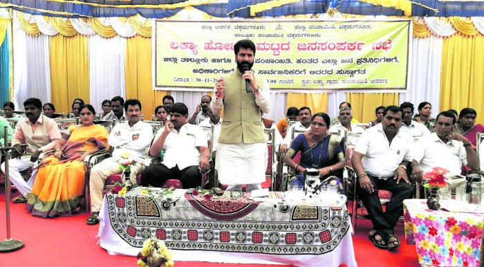 MLA C T Ravi speaks at Janasamparka meeting held at Lakhya (Hobli) in Chikkamagaluru district on Friday.