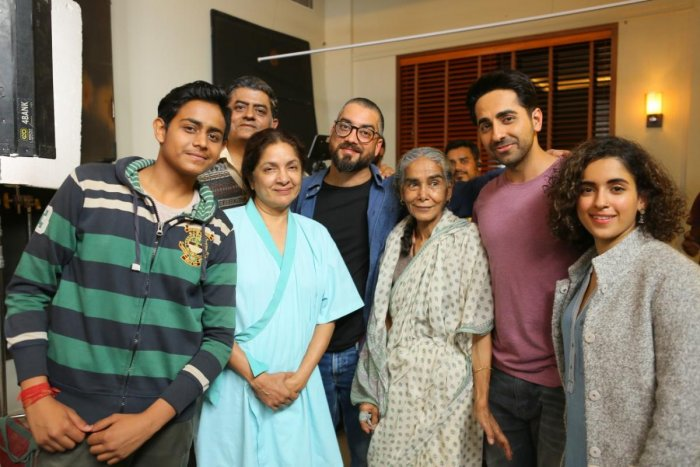 The cast of Badhaai Ho with Amit Sharma (fourth from left).