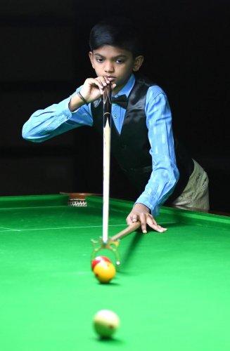 TALENTED KID: Mayank Karthik won the State-ranking Sub-junior billiards title this month. DH PHOTO/ SRIKANTA SHARMA R