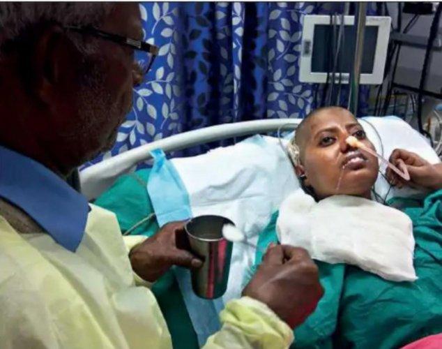 Sangeetha Das undergoes treatment at a hospital in Kolkata.