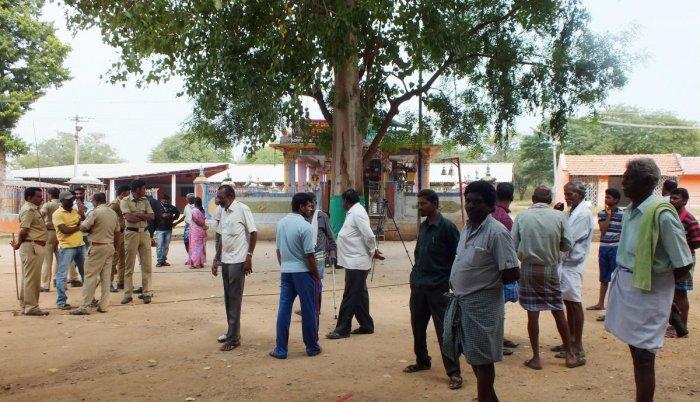 Several structures seen near Kicchugutti Maramma temple in Sulvadi of Hanur taluk in Chamarajanagar district.