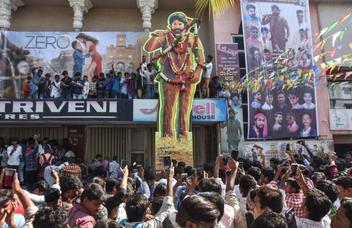 Fans at a theatre screening KGF in Kalaburgi. DH Photo