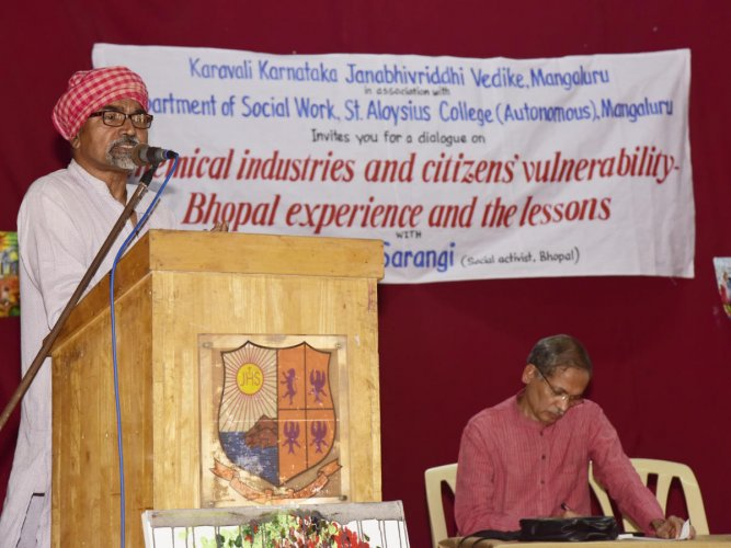 Social activist Satinath Sarangi addresses students on 'Chemical Industries and Citizens Vulnerability: Bhopal Experiences and the Lessons' organised by the Social Work Department of St Aloysius College in association with Karavali Karnataka Janabhivriddhi Vedike at St Aloysius College, Mangaluru, on Saturday.