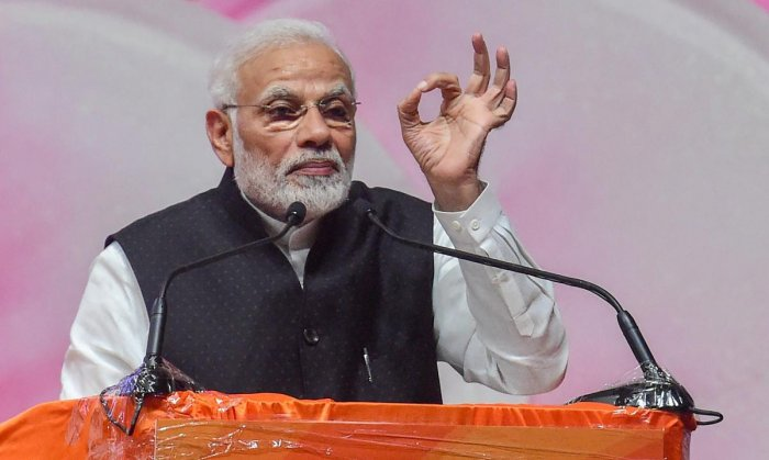 "People will see through the ""incoherent alliance of rich dynasties,"" Modi said during his interaction with booth workers from Chennai Central, Chennai North, Madurai, Tiruchirappally and Tiruvallur constituencies in Tamil Nadu through video conference. (P"