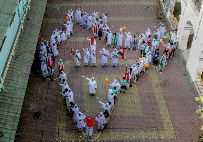 School students form the map of India during Republic Day celebrations, in Mumbai. PTI
