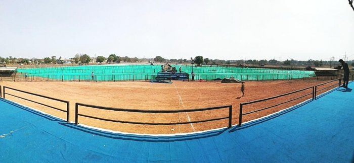 A panoramic view of the venue of PM Narendra Modi's campaigning rally to be held near Gabbur Cross in Hubballi on February 10.