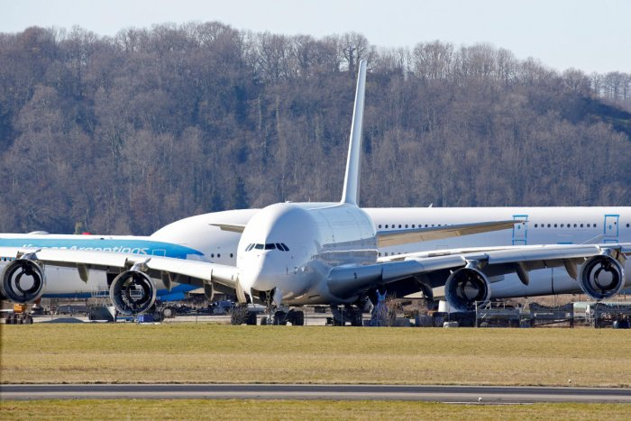 An A380 Airbus superjumbo sits on the tarmac where it is dismantled at the site of French recycling and storage aerospace company Tarmac Aerosave in Tarbes, southwest France. (Reuters Photo)