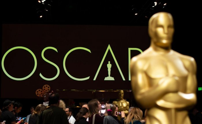 An Oscar statue stands during a preview for the Governors Ball during the 91st annual Academy Awards week in Hollywood. AFP.