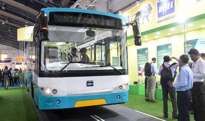 An electric bus on display at The Future Mobility Show 2019 in Bengaluru on Tuesday. DH PHOTO/B H SHIVAKUMAR