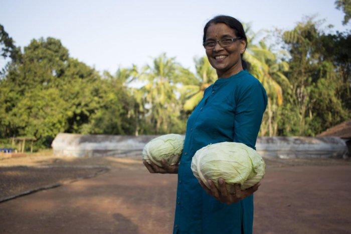 Ashwini with cabbage