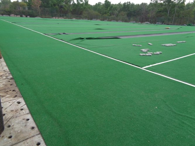 The work on laying the turf mat on the playground of Koodige Sports Residential School is in the last stage.