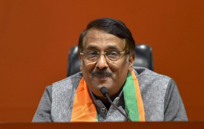 Former Congress leader Tom Vadakkan after he joined Bharatiya Janta Party, in New Delhi onThursday. (PTI Photo)