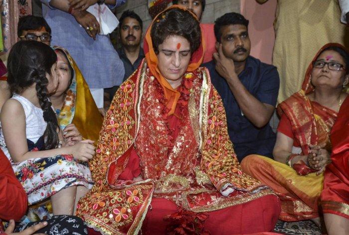 Congress General Secretary UP-East Priyanka Gandhi Vadra offer prayers at Vindhyavasini Temple, in Mirzapur district, on Tuesday. PTI