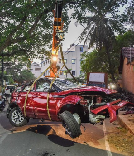 The wreckage of the Range Rover which was involved in an accident on NICE Road on Tuesday. DH Photo/S K Dinesh