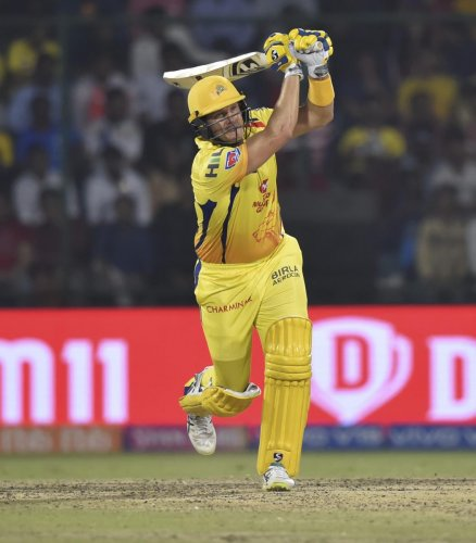 TOP SHOW: CSK's Shane Watson hits out to the boundary during his match-winning 44 against DC on Tuesday. PTI