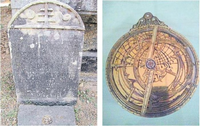 Relics of past: Stone inscription in Venuru, Dakshina Kannada (L) and astrolabe and the rete — a very handy tool for navigators till about 100 years ago.